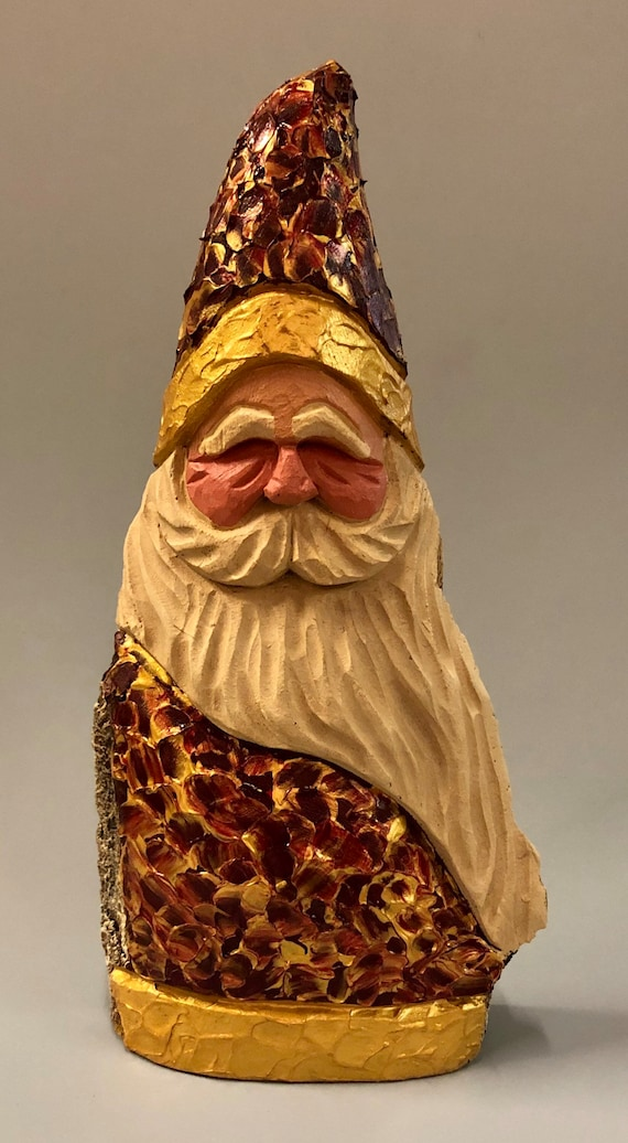 "HAND carved original 10"" tall palette knife painted Santa from 100 year old Cottonwood Bark"