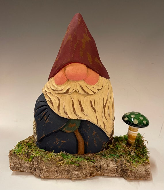 """HAND carved 7.5"""" tall Gnome with hand blown blue glass mushroom from 100 year old Cottonwood Bark."""