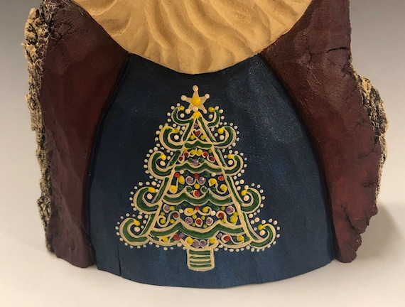 """HAND carved original 8.5"""" tall Santa w/ ornate tree design from 100 year old Cottonwood Bark."""