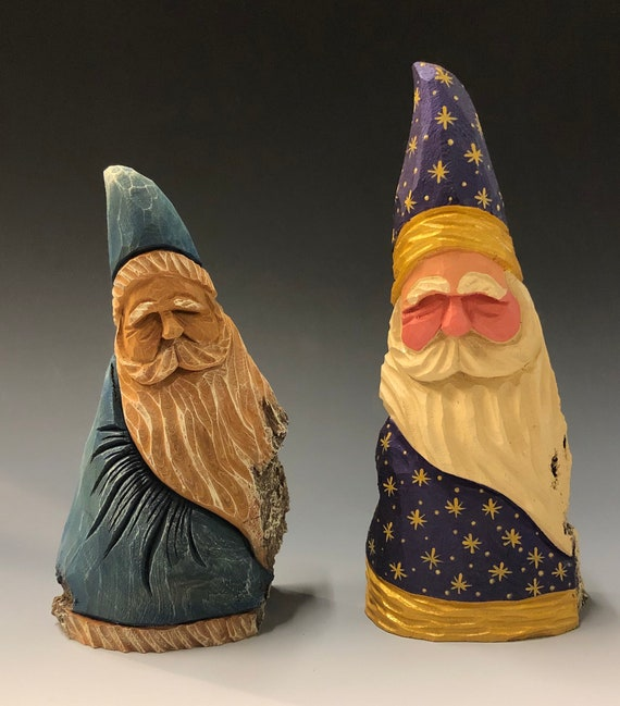 HAND carved original pair of Santa's from 100 year old Cottonwood Bark.