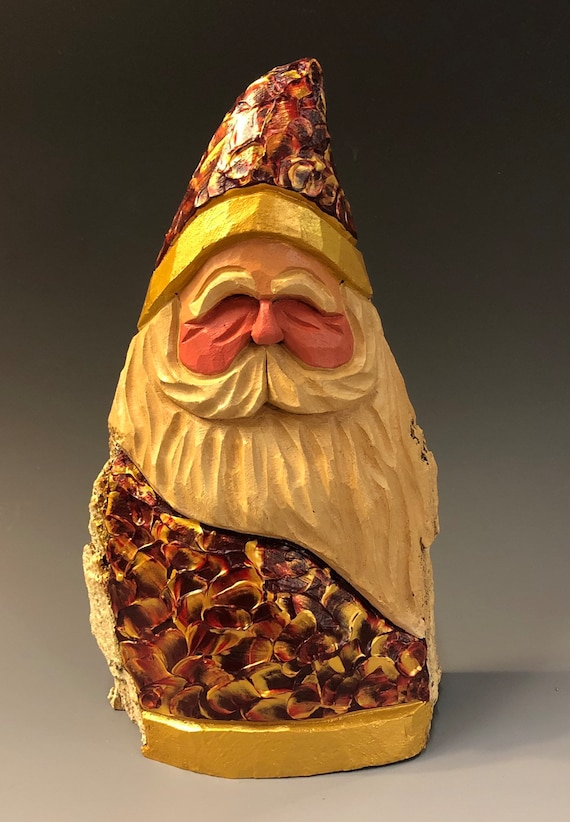 """HAND carved original 8"""" tall palette knife painted Santa from 100 year old Cottonwood Bark"""