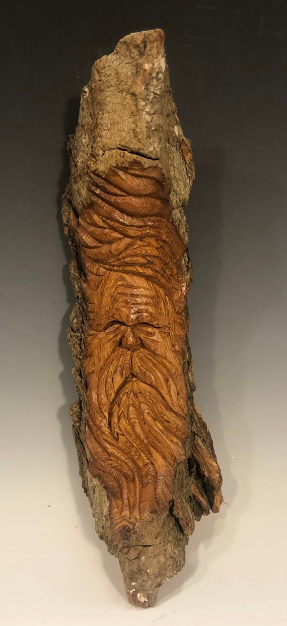 "HAND CARVED original 12.5"" long Tree Spirit  from 100 year old Cottonwood Bark"