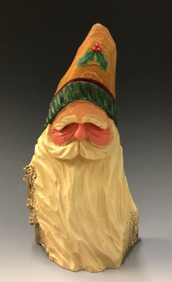 "HAND carved original 7.5"" tall Santa bust with holly from 100 year old Cottonwood Bark."