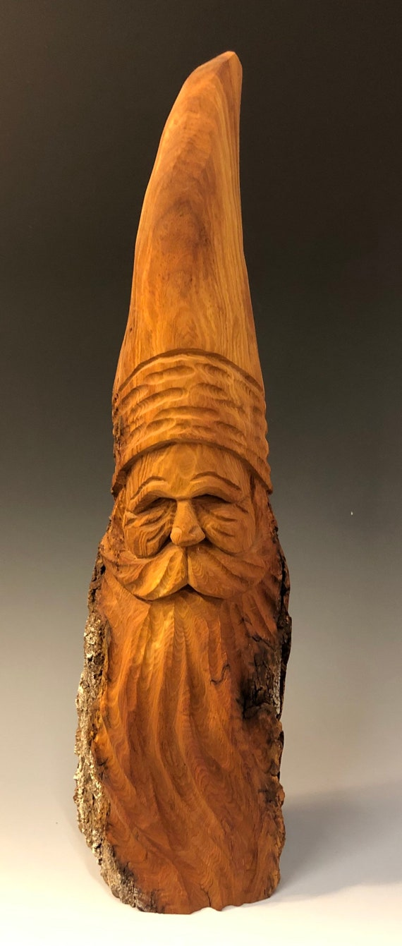 """HAND carved original 12"""" tall rustic Santa with natural finish from 100 year old Cottonwood Bark."""