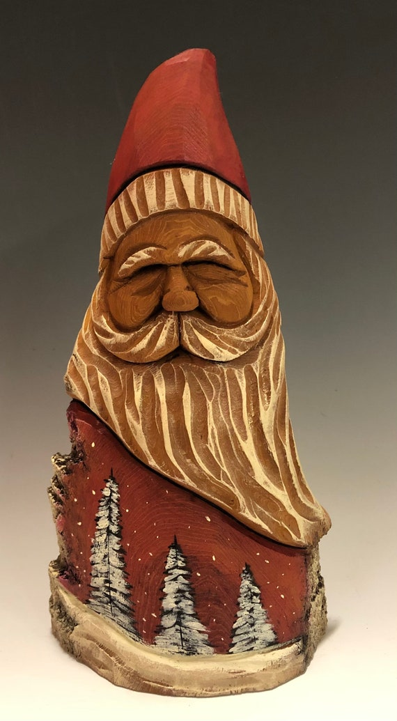 "HAND carved original 9"" tall Santa with natural/oil color finish & wood burned trees from 100 year old Cottonwood Bark."