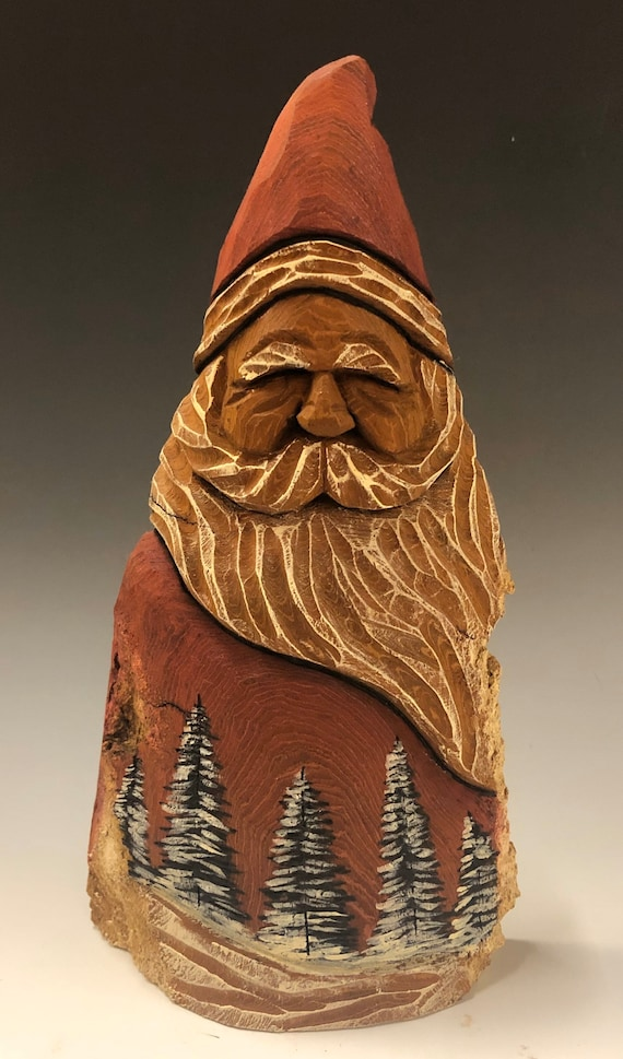 "HAND carved original 8.5"" tall Santa and wood burned trees from 100 year old Cottonwood Bark."