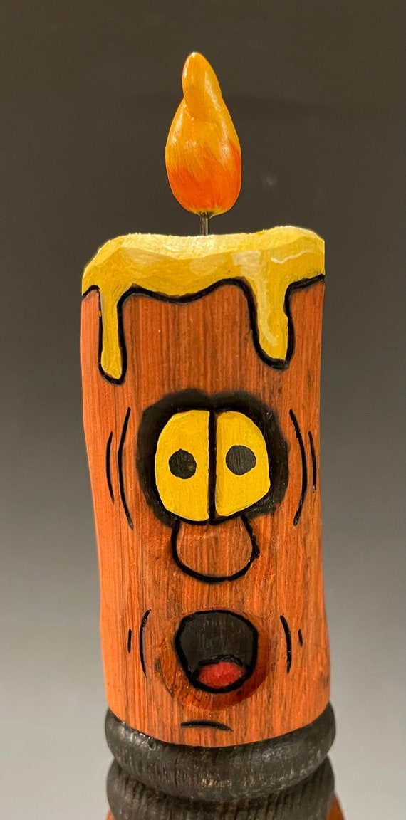"""HAND CARVED original 7"""" tall Halloween spooky candle from 100 year old Cottonwood Bark"""