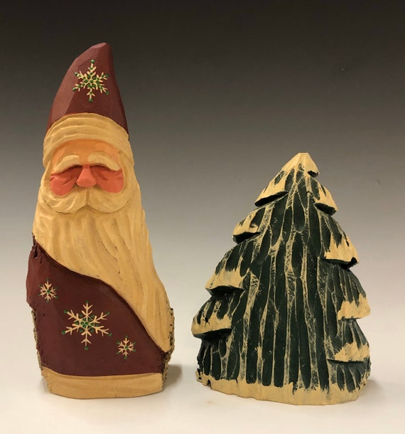"""HAND carved original 8"""" tall Santa and tree set from 100 year old Cottonwood Bark."""