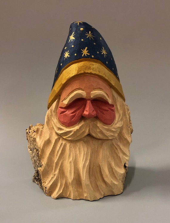 "HAND carved original 6.5"" Santa bust from 100 year old Cottonwood Bark."