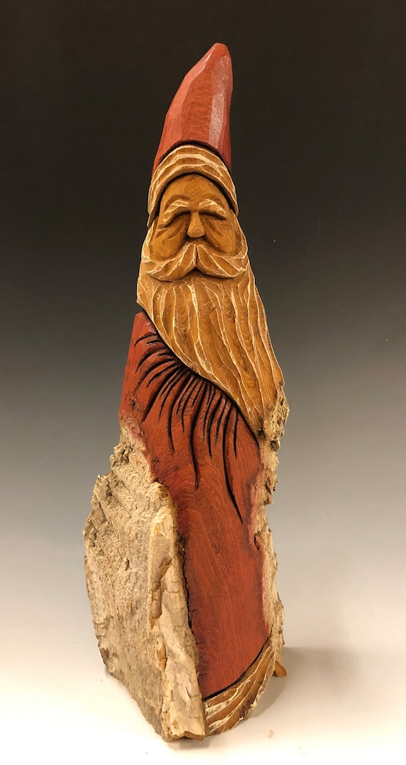 """HAND carved original 12.5"""" tall natural/stained  rustic Santa from 100 year old Cottonwood Bark."""