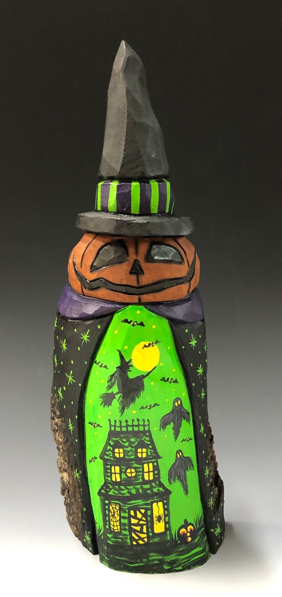 "HAND CARVED original 9.5"" tall Witch hat Jack-O-Lantern man w/ scene from 100 year old Cottonwood Bark"