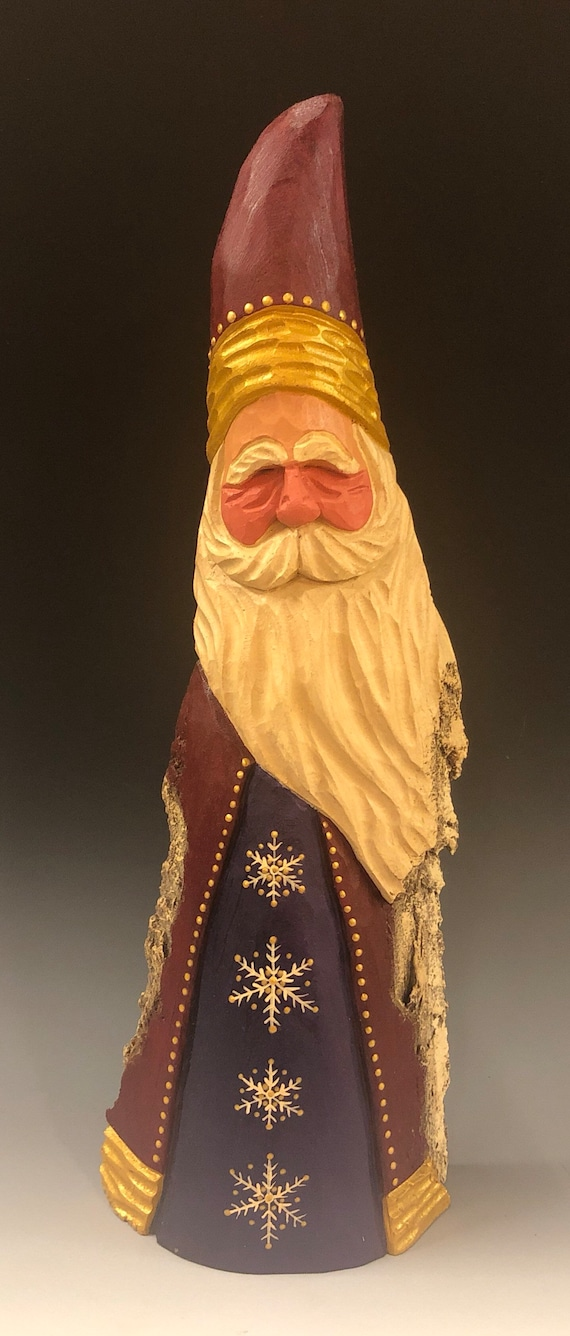"""HAND carved original 14"""" tall Santa w/ fancy snowflakes from 100 year old Cottonwood Bark."""