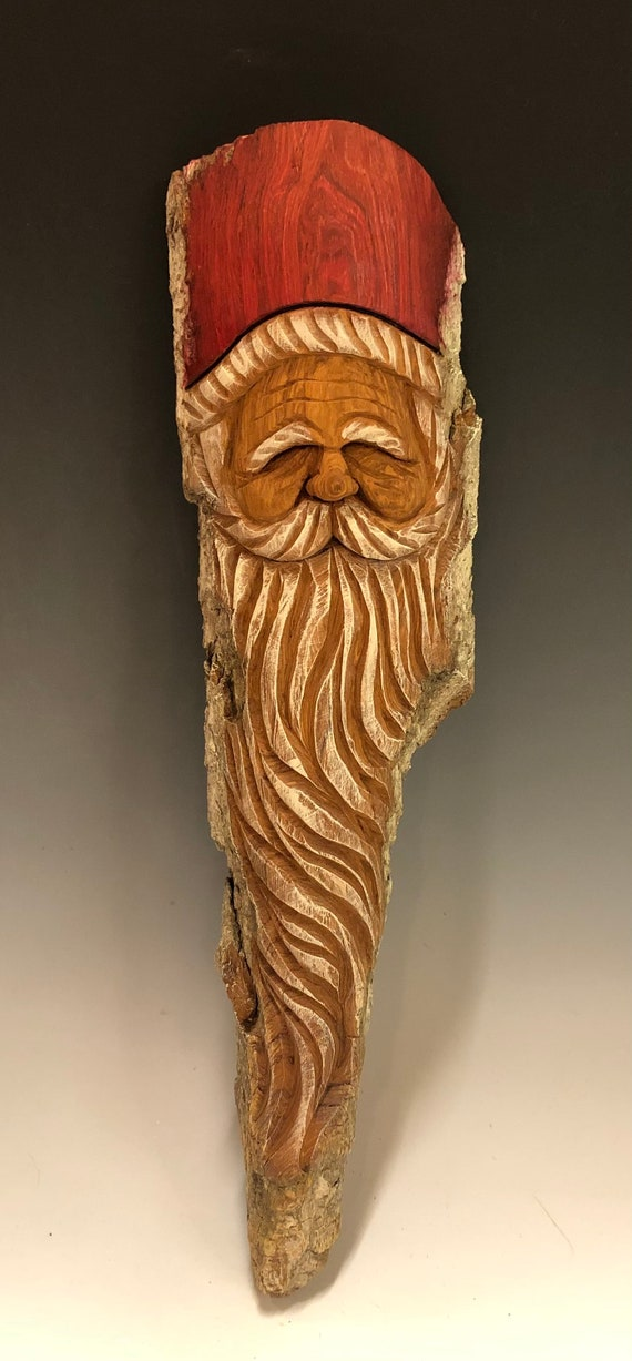 "HAND CARVED original 15"" Christmas Spirit  wall hanging from 100 year old Cottonwood Bark"