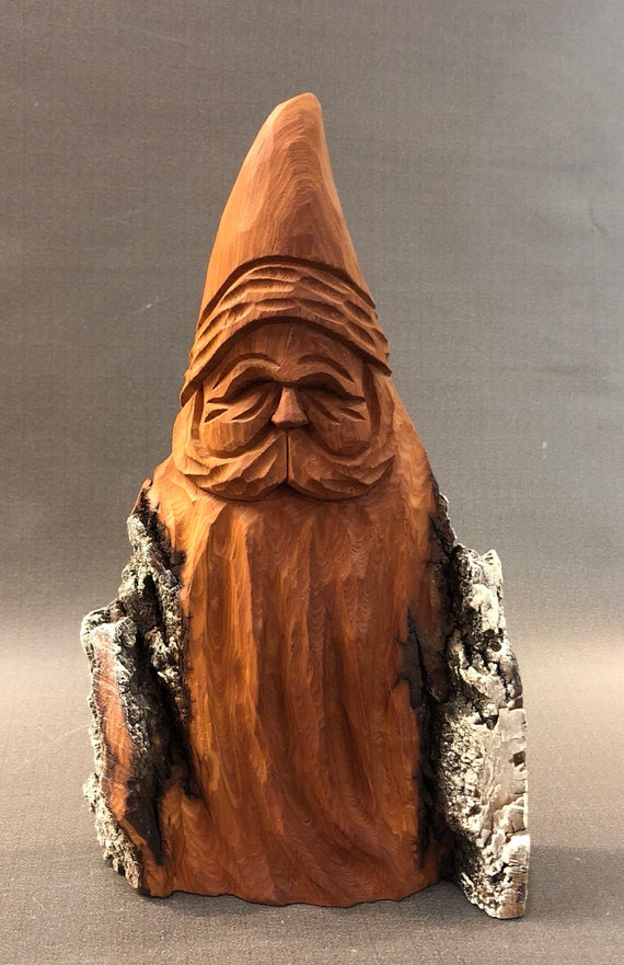 "HAND carved original 8"" tall Santa bust with natural finish from 100 year old Cottonwood Bark."