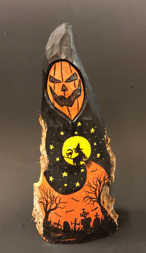 """HAND CARVED original 8.5"""" tall Halloween Jack-O-Lantern man w/ painted scene from 100 year old Cottonwood Bark"""