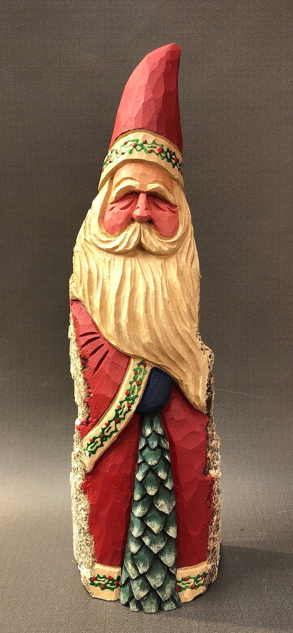 HAND carved original tall Santa and tree from 100 year old Cottonwood Bark.