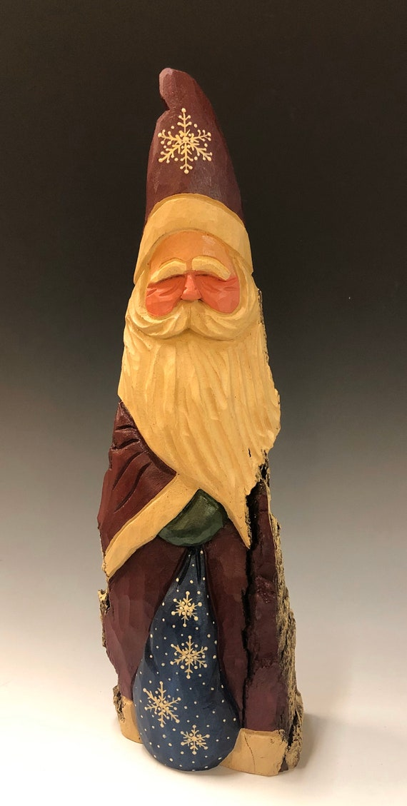 "HAND carved original 13"" tall Santa w/ bag from 100 year old Cottonwood Bark."
