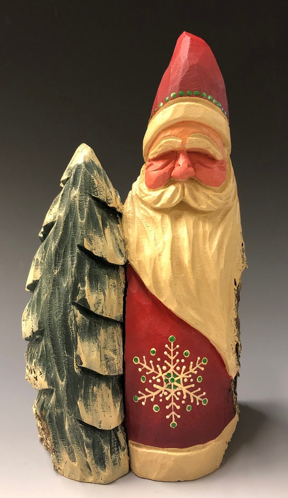 """HAND carved 8"""" tall Santa w/ tree from 100 year old Cottonwood Bark."""