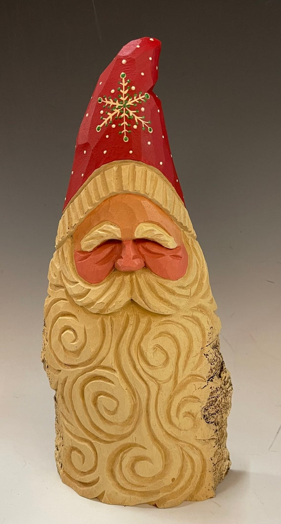 """HAND carved 10.5"""" tall curly beard Santa bust from 100 year old Cottonwood Bark."""