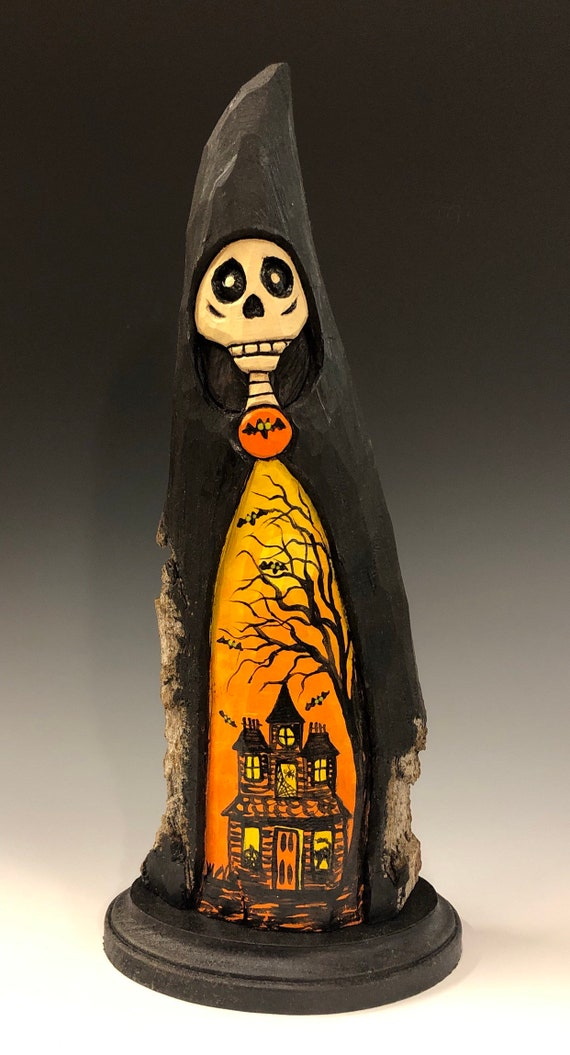 HAND CARVED original Halloween Skelly with painted scene from 100 year old Cottonwood Bark