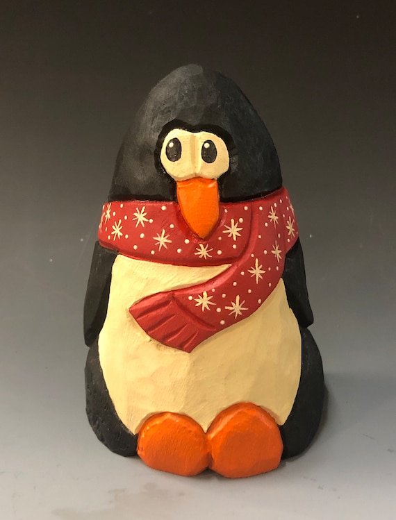 """HAND carved original 5"""" tall Penguin from 100 year old Cottonwood Bark."""