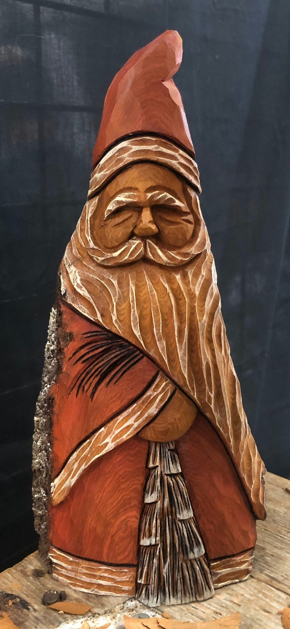 """HAND carved original 10"""" tall Santa and tree from 100 year old Cottonwood Bark."""