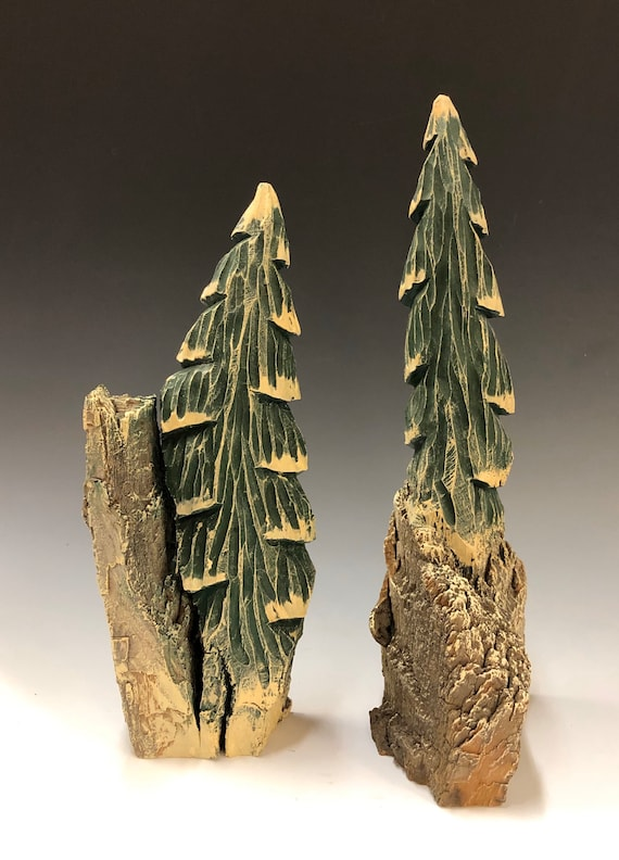 HAND CARVED original set of 2 rustic trees from 100 year old Cottonwood Bark.