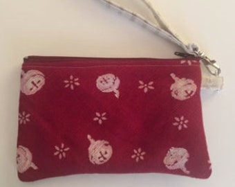 Coin purse maroon white gumnut geometric honeycomb lined