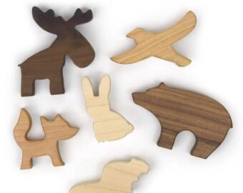 Woodland Animal Play Set - Baby Shower Gift - Waldorf Toys - Woodland Nursery - Wooden Toy