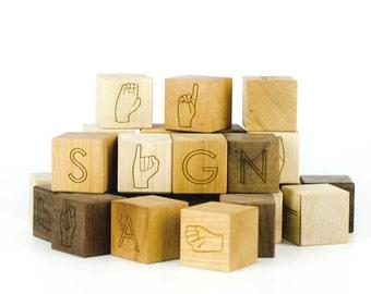 Sign Language ASL Wooden Alphabet Blocks