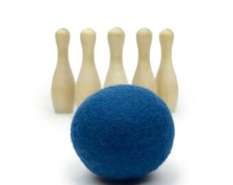 Indigo Felt & Wood Bowling Toy