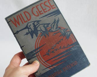 Vintage Book Journal / Recycled Old Book Journal / Wild Geese Rebound Journal / by PrairiePeasant