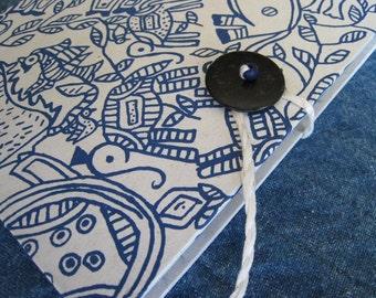 Blue Elephants Handmade Paper Photo Album or Journal by PrairiePeasant