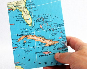 Caribbean / Cuba / Mexico / Jamaica / Bahamas / Florida Travel Map Journal with Lined Pages by PrairiePeasant
