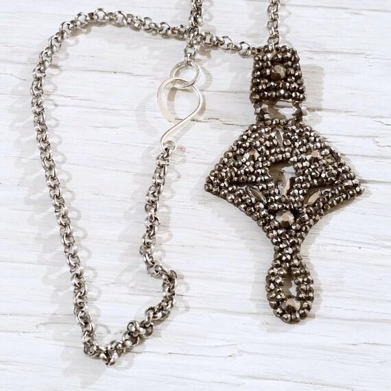 Antique Cut Steel Swinging Drop Necklace