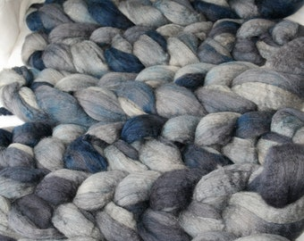 Mixed Blueface Leicester Tussah Silk Spinning Fiber - 'Faded Jeans'