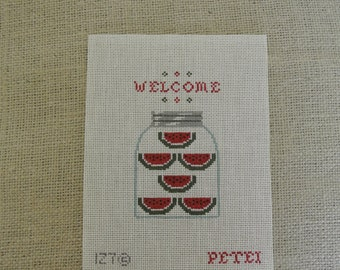 Needlepoint canvas - watermelon and welcome