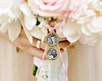 Gold locket charm, Wedding bouquet locket, bouquet photo charm, memorial wedding gift for bride