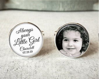 Always your little girl cufflinks, personalized wedding cuff links, Father of the bride, add your name and date, gift For dads