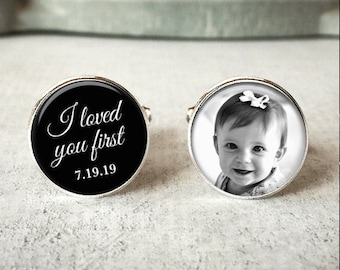 Father of the bride cufflinks, personalized wedding cuff links, I loved you first, wedding keepsake gift for dads