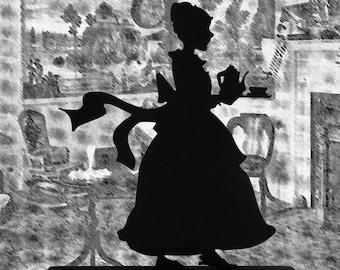 Woman Bringing Tea Service Handmade Decorative Wood Display Silhouette  swmn011