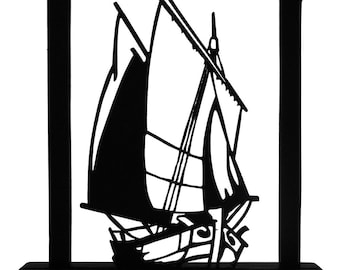 Sail Boat Approaching the Harbor Handmade Wood Display Silhouette  sntl006