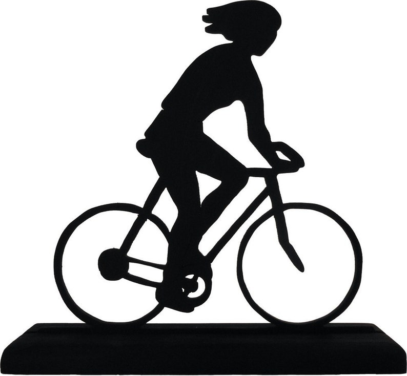 Female Bicycle Rider Handmade Wood Display Silhouette
