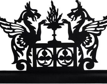 Fantasy Griffins  2 Dragons Handmade Decorative Wood Display Silhouette  sfnt002