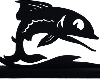 Fish Leaping Over The Waves Handmade Wood Display Silhouette Decoration   sfsh001