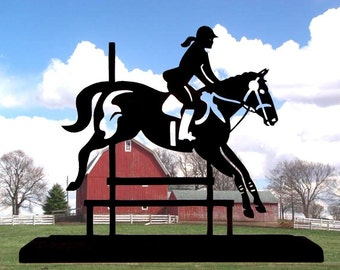 Female Equestrian Rider and Jumper Handmade Wood Display Silhouette sptr004