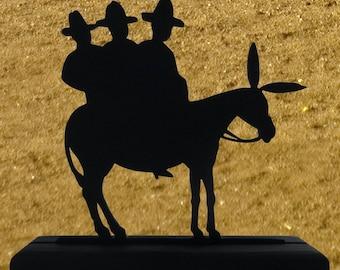 Humorous Three Amigos On A Burro Wood Display Silhouette Decoration   swst008