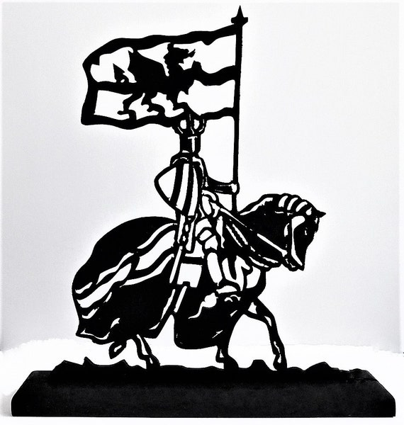 Knight With A Flag Handmade Wood Display Silhouette Decoration