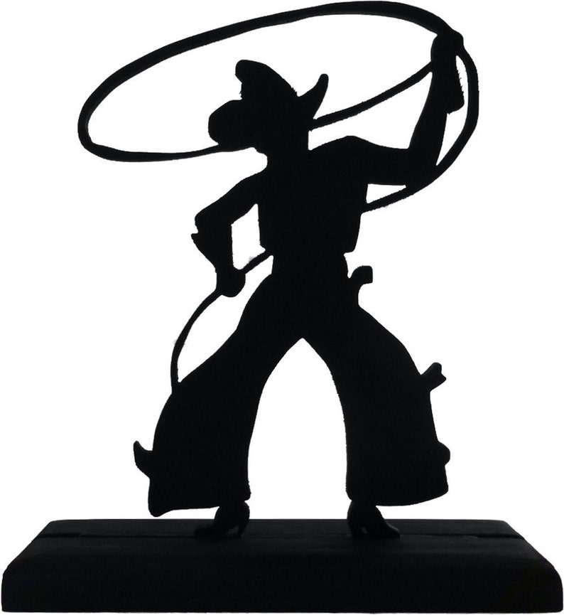 Bowlegged Cowboy With Lasso Handmade Wood Display Silhouette