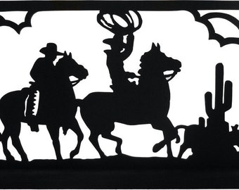 Cowboys On Roundup Picture Handmade Wood Display Silhouette Decoration  swst005